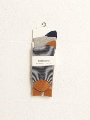 Lot 2 paires chaussettes orange fonce homme