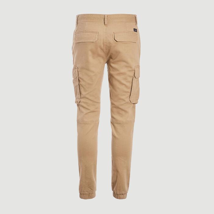 Pantalon cargo taille à cordon beige homme