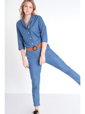 Combinaison pantalon en jean denim used femme