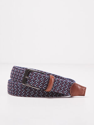 Ceinture tressee rouge fonce homme