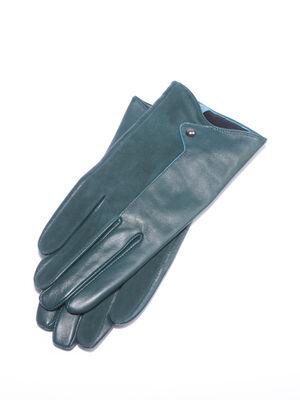 Paire gants en cuir vert fonce femme