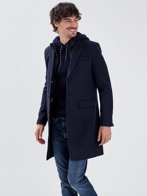 Manteau droit col montant bleu marine homme
