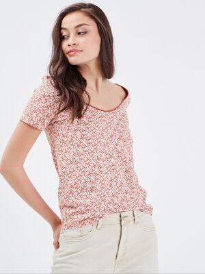T shirt manches courtes rose corail femme