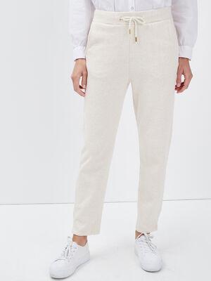 Pantalon jogging creme femme