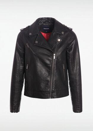 Veste esprit biker cintree noir femme