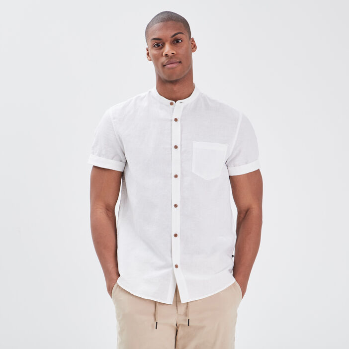 Chemise col mao blanc homme