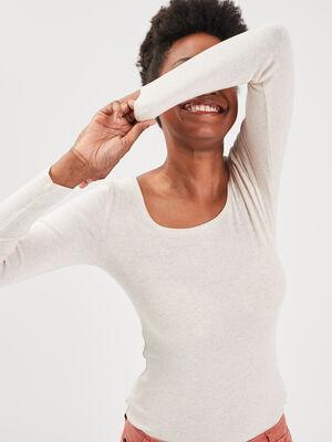 T shirt maille unie Instinct beige femme