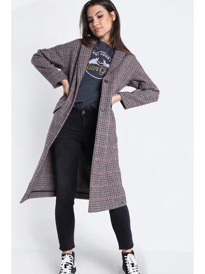 Manteau droit a col crante marron cognac femme
