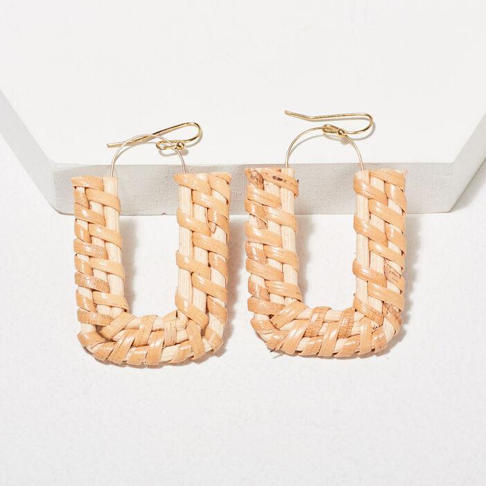 Boucles d'oreilles pendantes beige femme