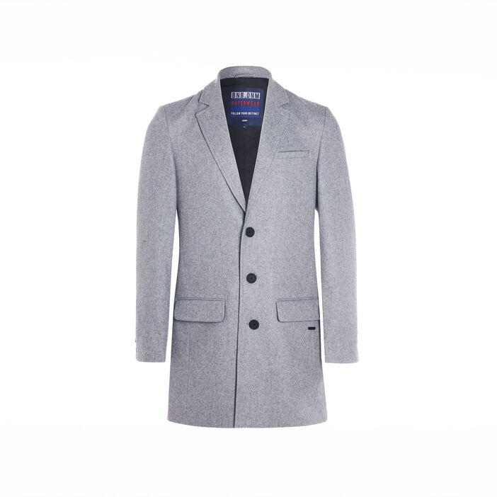 Manteau ajusté boutonné gris foncé homme