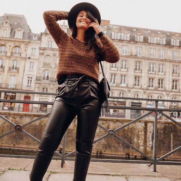 Pantalon paperbag ceinturé noir femme