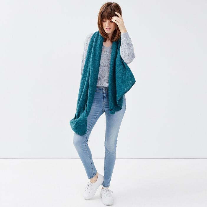 Pull manches longues bleu gris femme