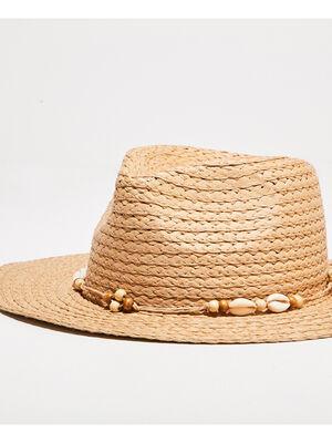 Chapeau de paille coquillages sable femme