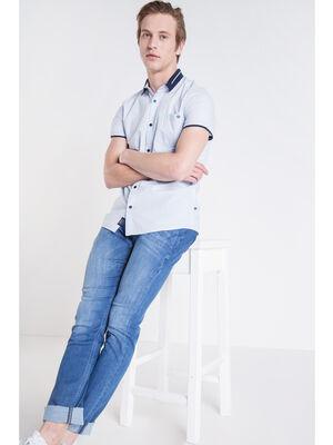 Chemise manches courtes Instinct bleu lavande homme
