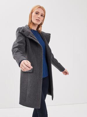 Manteau droit col montant gris fonce femme
