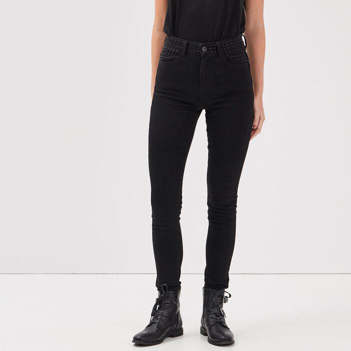 Jeans slim détails studs denim noir femme