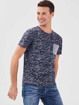T shirt eco responsable bleu fonce homme