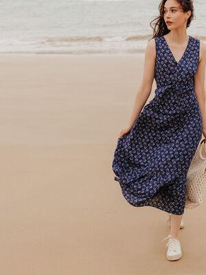 Robe longue evasee fluide bleu marine femme