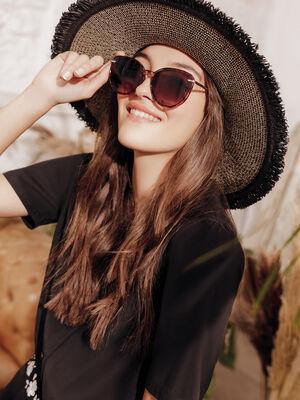 Chapeau tresse a franges noir femme