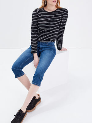 Jeans pantacourt slim denim stone femme