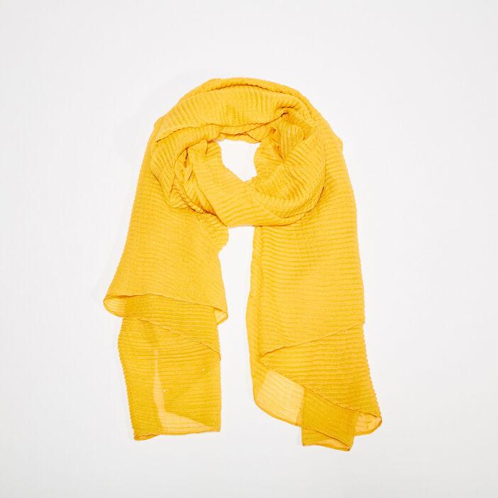 Foulard plissé jaune femme
