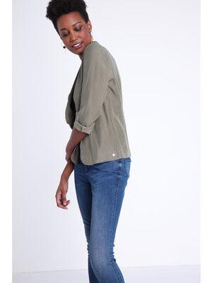 Veste blazer cintree col chale vert kaki femme