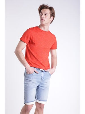 T shirt manches courtes rouge corail homme