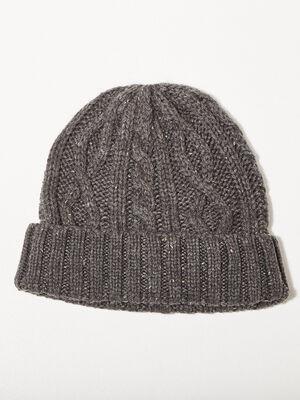 Bonnet tricote gris fonce homme
