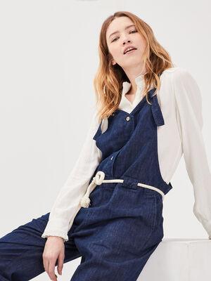 Combinaison pantalon en jean denim brut femme