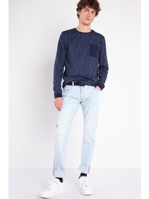 Jeans slim effet used Instinct denim bleach homme