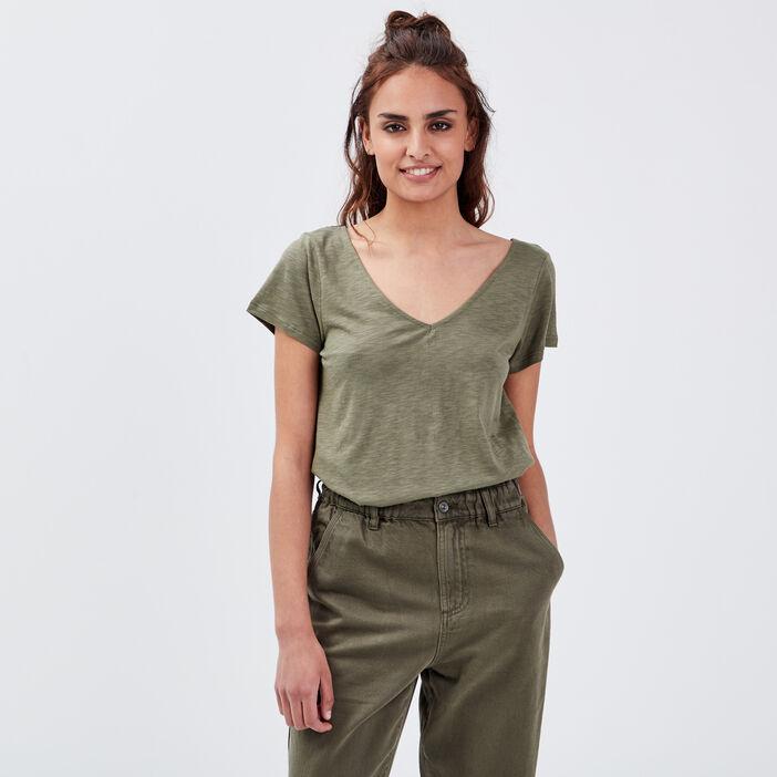 T-shirt manches courte vert kaki femme