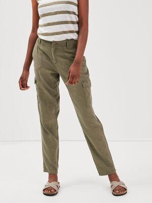 Pantalon cargo taille standard vert kaki femme