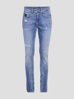 Jeans straight denim bleach homme