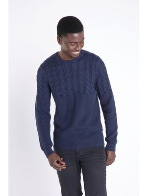 Pull manches longues ajuste bleu marine homme