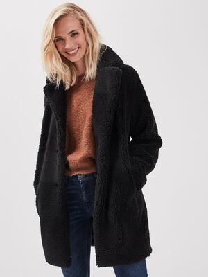 Manteau droit fausse fourrure noir femme