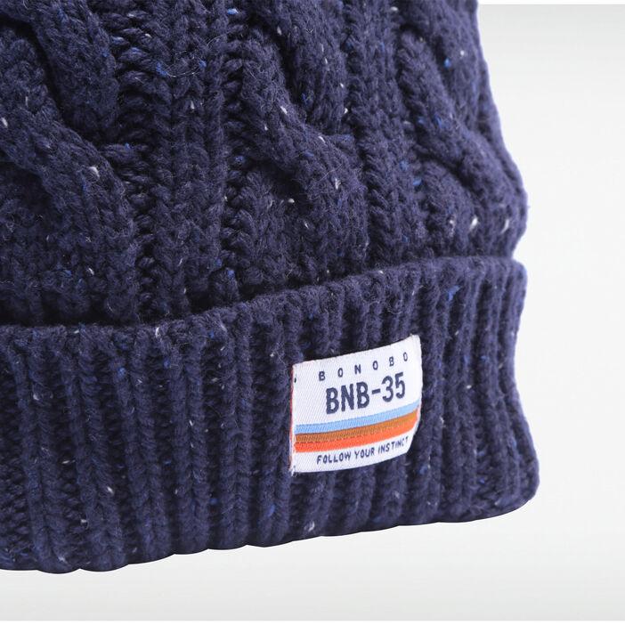Bonnet tricoté à torsades gris foncé homme