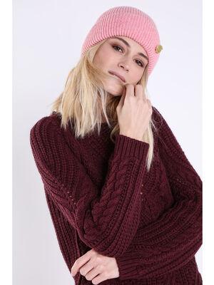 Bonnet tricot feuille pailletee rose femme
