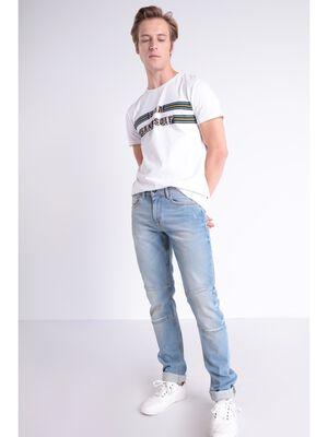 Jeans slim destroy 6 poches denim bleach homme