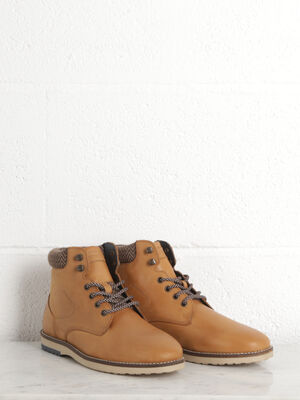 Bottines plates a lacets taupe homme