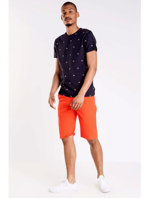 Bermuda chino droit coton orange fonce homme