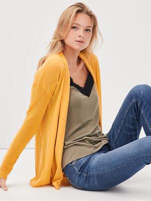 Cardigan manches longues jaune femme