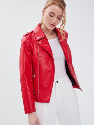 Veste droite esprit biker rouge femme