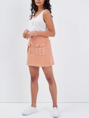 Jupe droite avec poches terracotta femme