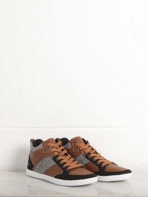 Sneakers hautes 3 matieres camel homme