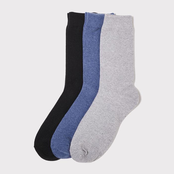 Lot 3 paires de chaussettes unies bleu foncé homme