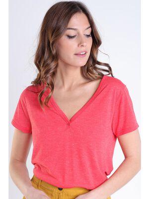 T shirt col v orange femme