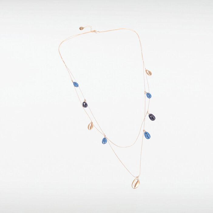 Collier 2 rangs à coquillages bleu foncé femme