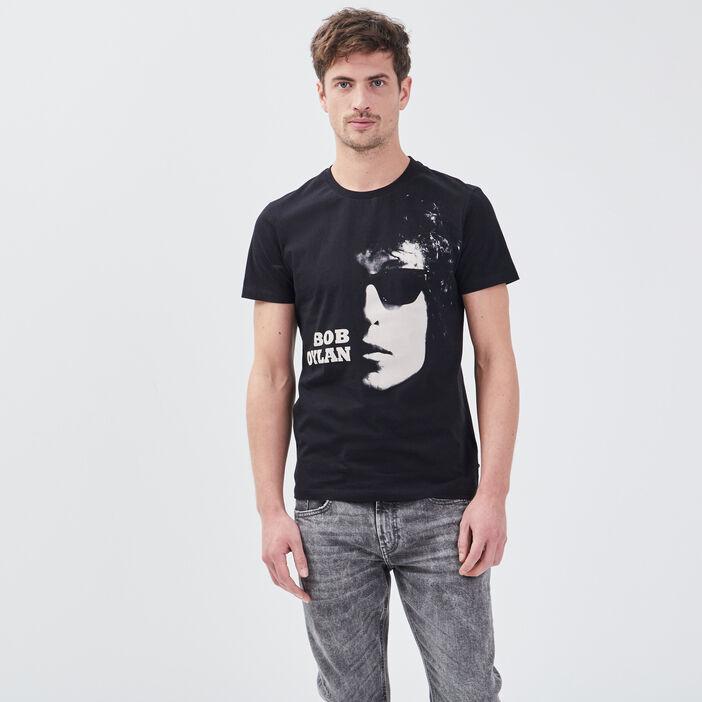 T-shirt Bob Dylan noir homme