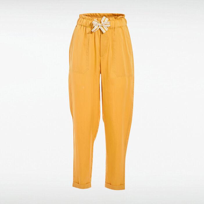 Pantalon carotte taille haute jaune femme