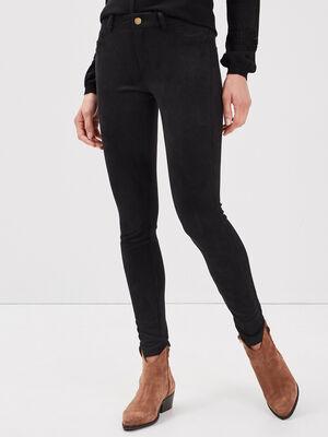 Pantalon tregging suedine noir femme